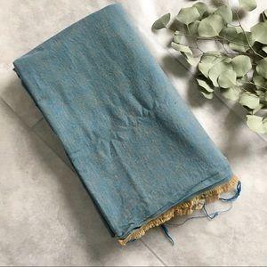 Vintage 70s Blue & Honey Rive Texture Fabric